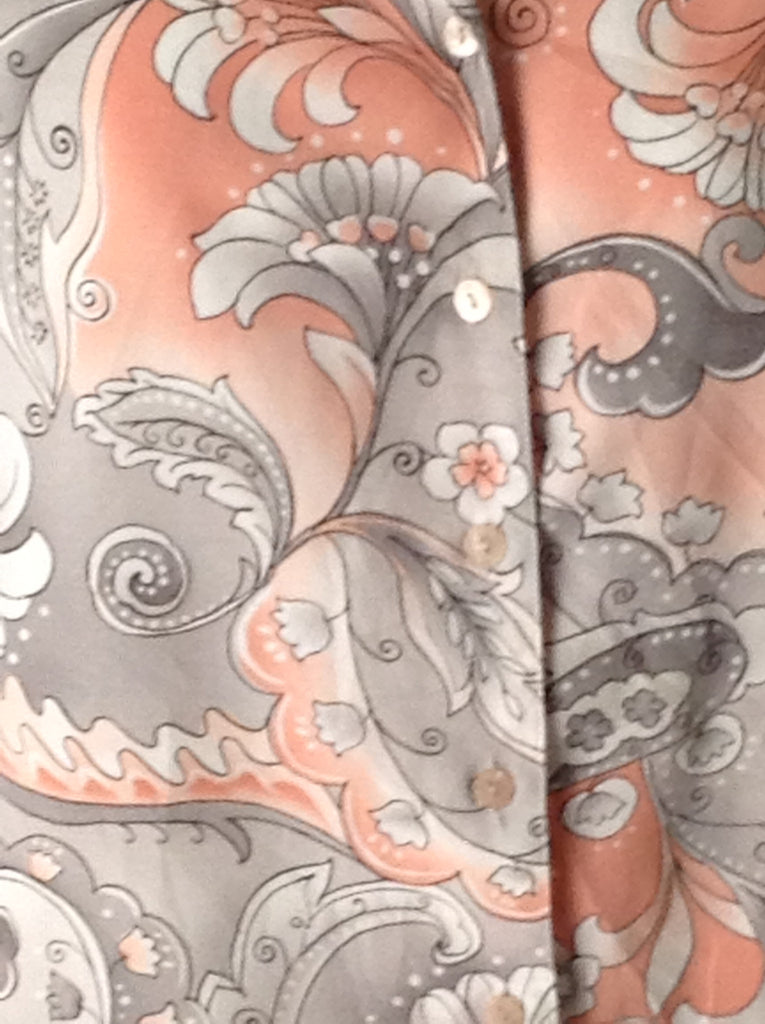 Alfred Dunner Gray 100% Polyester Floral Pattern Button Down Shirt Size: 8 R