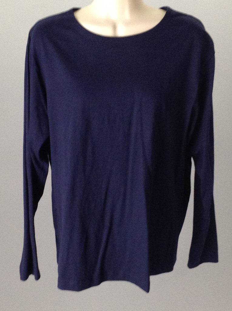 Eagle's Eye Blue 100% Cotton Plain Cowl Neck Regular Sweater Size: Medium