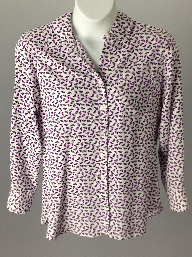 Ellen Tracy Multicolor 100% Polyester Funky Button Down Shirt Size: Medium