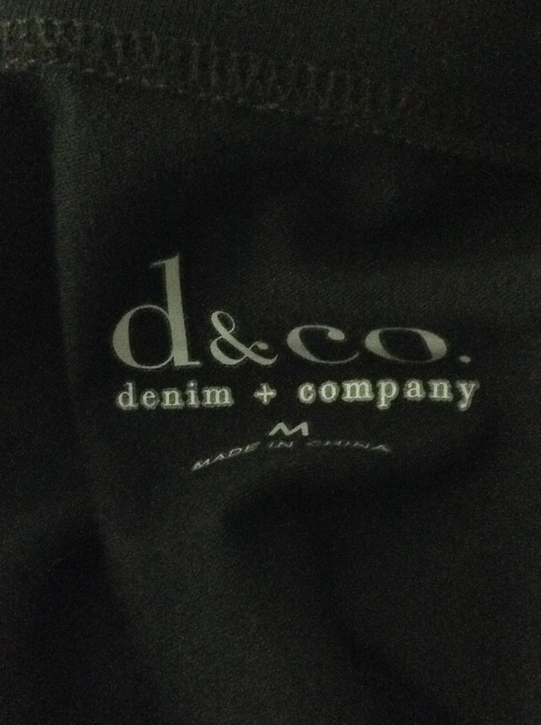 Denim & Company Black 95% Cotton 5% Spandex Plain Traditional Blouse Size: Medium