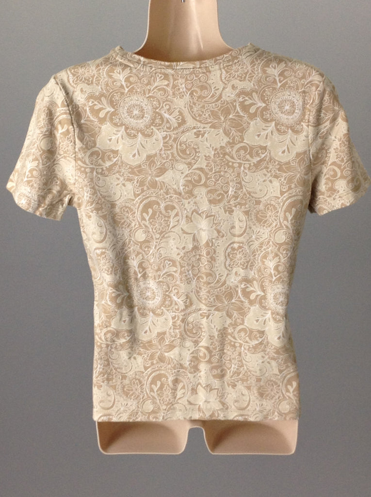 Croft & Barrow Beige Floral Pattern Knit Top Size: Small