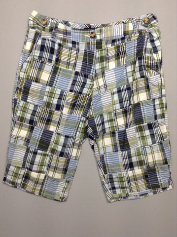 Blue 100% Cotton Checkered Casual Shorts, Size: 12 R
