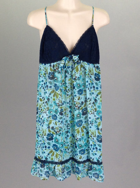 Blue Floral Pattern Teddy Nighty, Size: Large