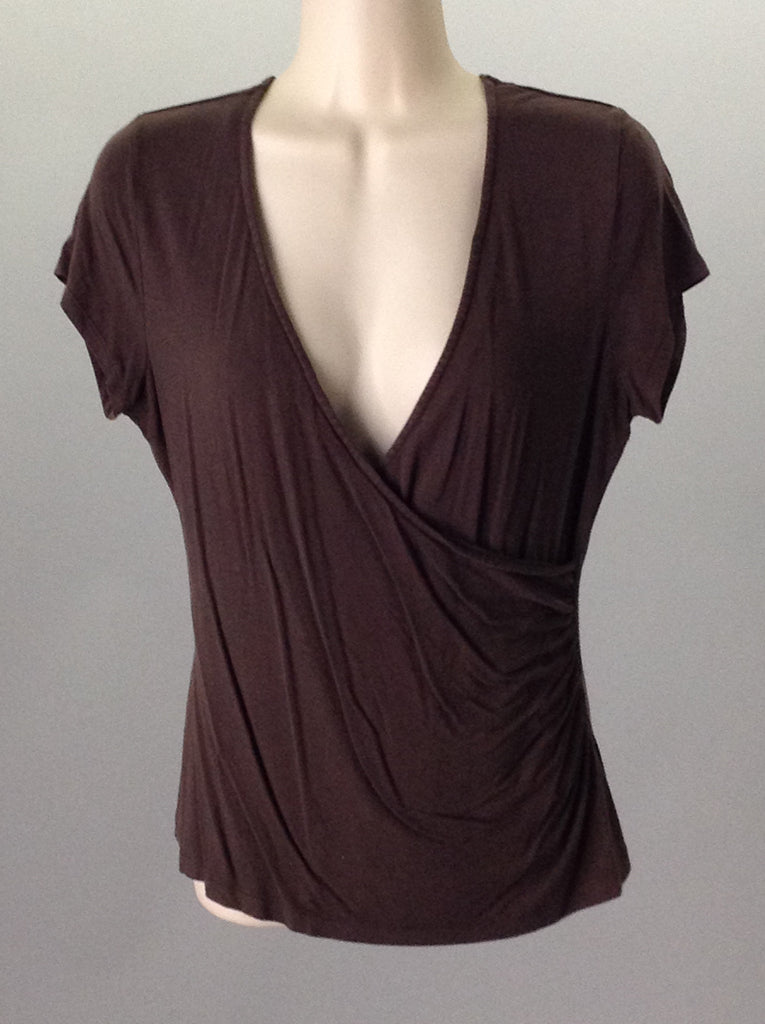 Brown 95% Rayon 5% Spandex Plain Knit Top, Size: Small