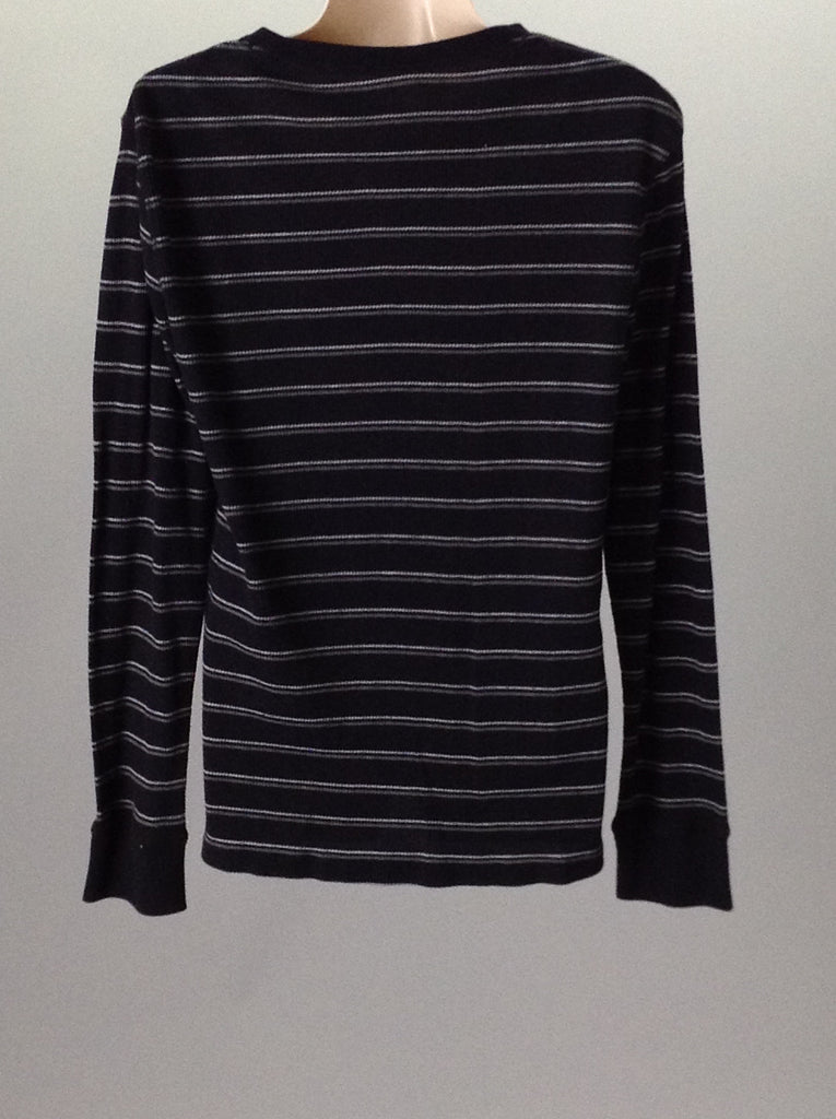 Blue 60% Cotton 40% Polyester Striped Traditional Blouse, Size: Medium