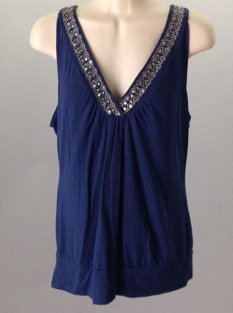 Blue 60% Polyester 40% Rayon Sequins Tank Top, Size: Medium