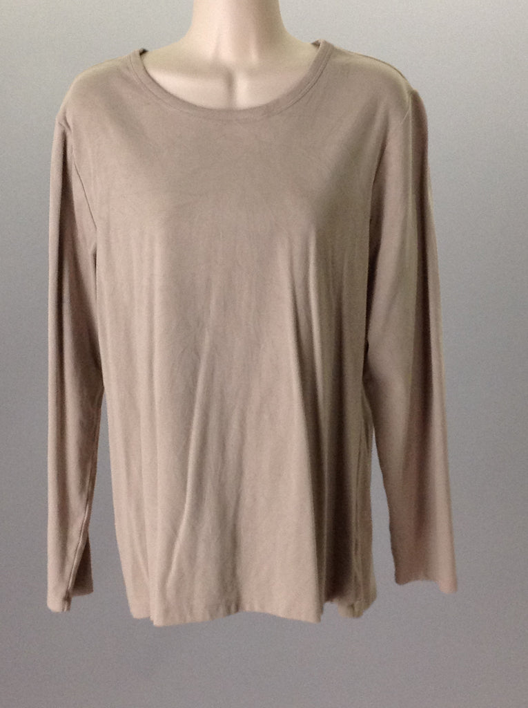 Beige 95% Cotton 5% Spandex Plain Long SleeveT, Size: X-Large