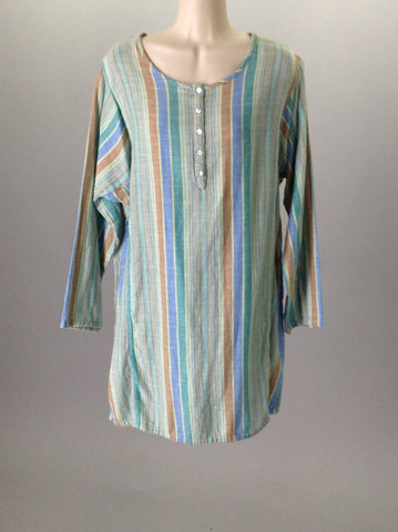 Multicolor 100% Cotton Striped Nightshirt Tunic, Size: Large
