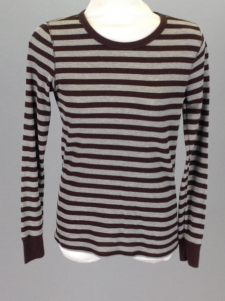 Brown Striped Thermal under top, Size: Medium