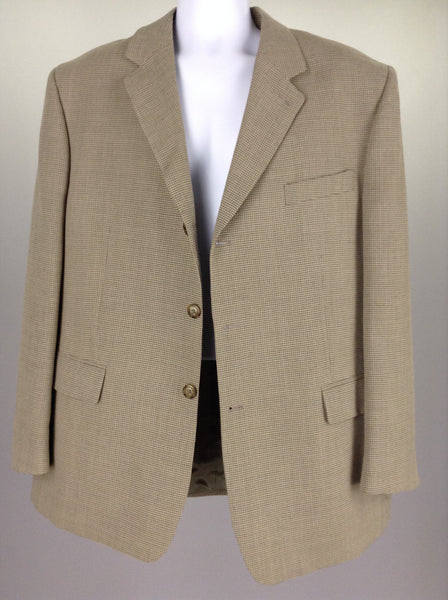 Beige 55% Polyester 45% Wool Hounds tooth 3-Button Blazer, Size: 46/117 R