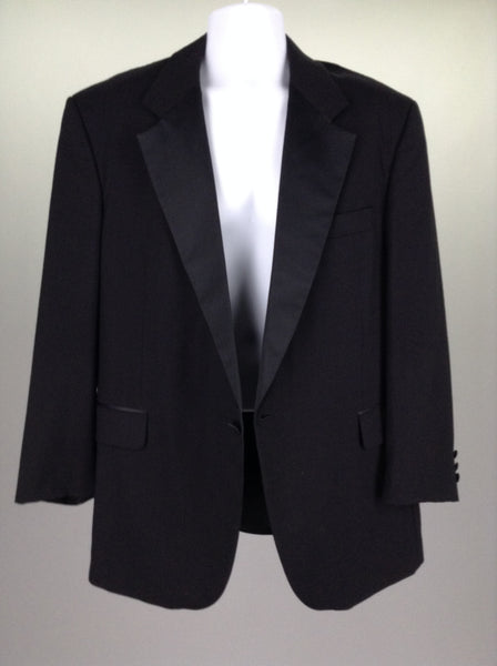 Black 65% Cotton 35% Polyester Plain 1-Button Blazer, Size: Large