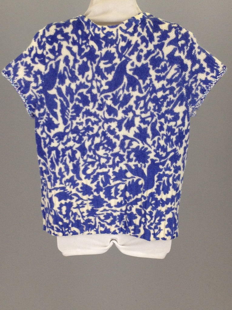 Blue Pattern Scoop Neck Knit Sweater, Size: Large