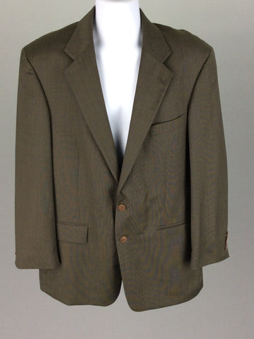 Green 100% Wool Plain 2-Button Blazer, Size: 44 38 R