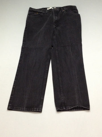 Black Plain Grey/Black Regular Jeans, Size: 36/29 R