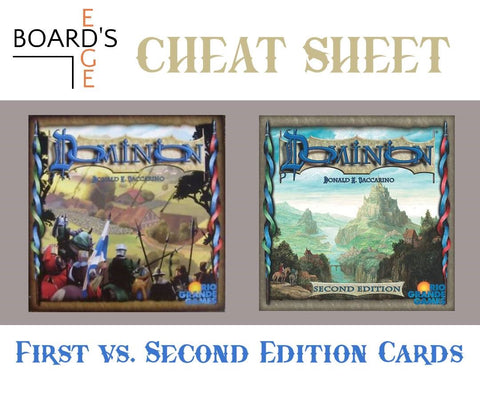 Board's Edge Games Cheat Sheet to Dominion Second Edition vs. First Edition