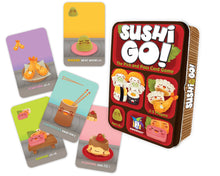 Load image into Gallery viewer, Sushi Go! card game box and custom cards