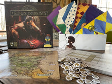 Load image into Gallery viewer, The King's Dilemma board game box and pieces