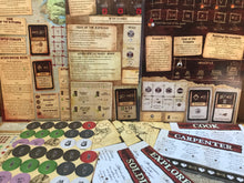 Load image into Gallery viewer, Robinson Crusoe board game components scenario cards roles