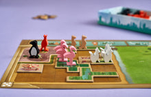 Load image into Gallery viewer, New York Zoo board game board with flamingo meeples!