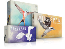 Load image into Gallery viewer, Wingspan board game series - core game, Wingspan Oceania Expansion, and Wingspan European Expansion