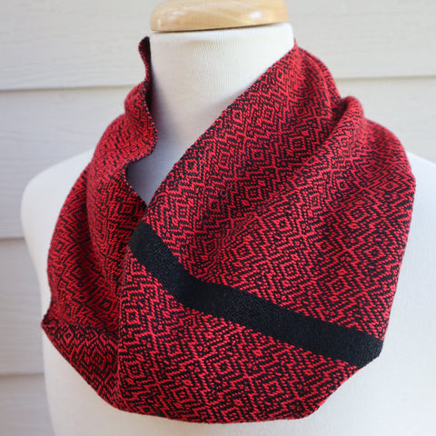 Handwoven Scarf - Cravat - Red Overground - Threefold Designs