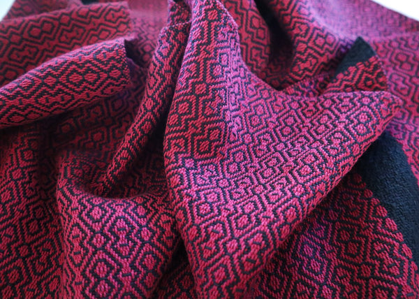 Handwoven Scarf - Classic Burgundy Diamonds - Threefold Designs