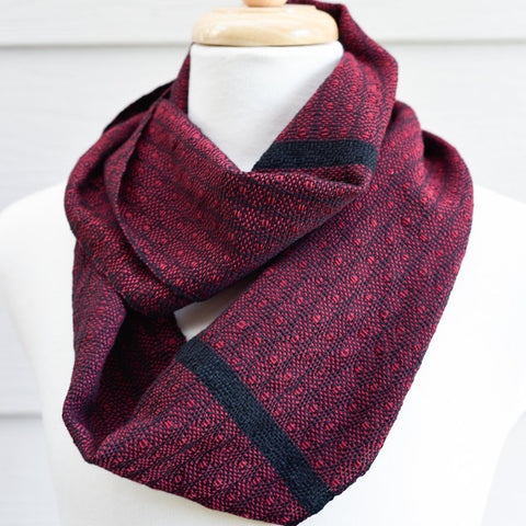 Handwoven Scarf - Classic - Burgundy Peacock - Threefold Designs