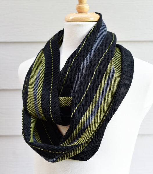 Handwoven Scarf - Dapper - Olive, Charcoal + Black - Threefold Designs