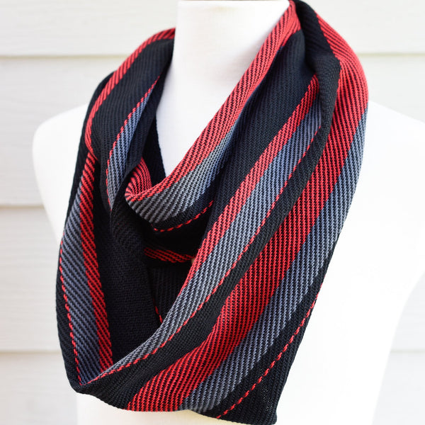 Handwoven Scarf - Dapper - Red, Charcoal + Black - Threefold Designs