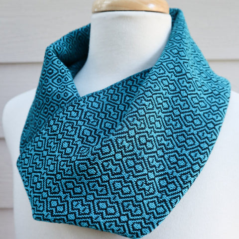 Handwoven Scarf - Cravat - Turquoise Diamonds - Threefold Designs
