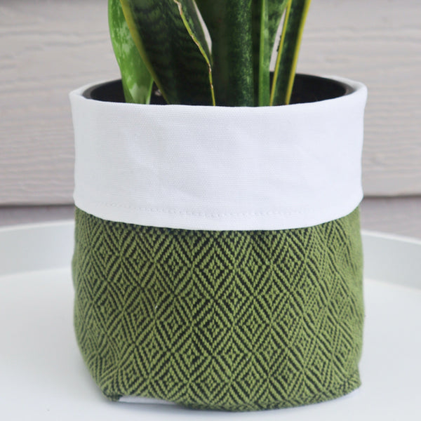 Fabric Plant Holder - Olive Green - Threefold Designs