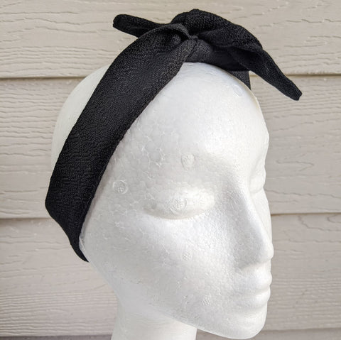 Black Handwoven Hair Scarf - Threefold Designs