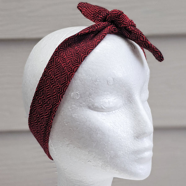 Red Handwoven Hair Scarf - Threefold Designs
