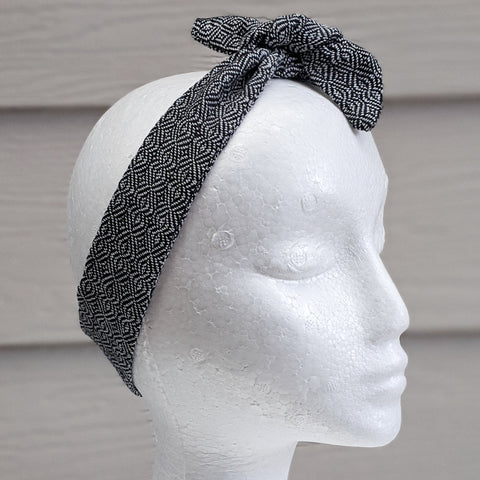 Silver Grey Handwoven Hair Scarf - Threefold Designs