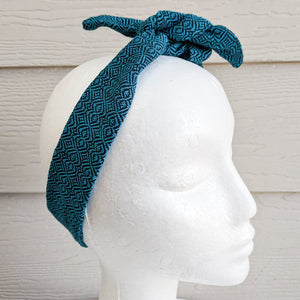 Turquoise Handwoven Hair Scarf - Threefold Designs