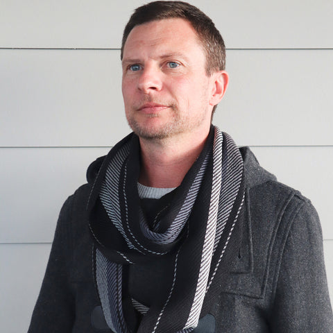 Handwoven Scarf - Dapper - Grey + Black