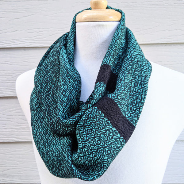 Handwoven Scarf - Classic Jade Green + Black Overground