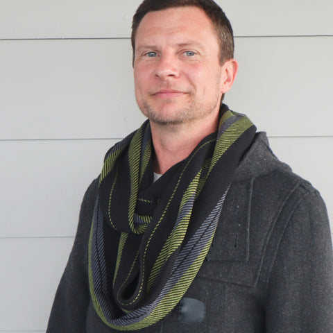 Handwoven Scarf - Dapper - Olive, Charcoal + Black