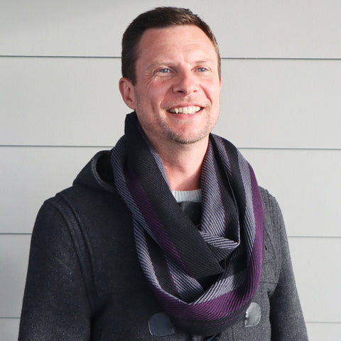 Handwoven Scarf - Dapper - Plum, Charcoal + Black