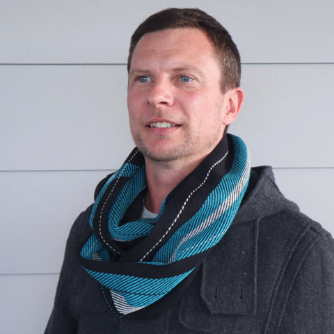 Handwoven Cotton Football Scarf - Port Adelaide - Threefold Designs