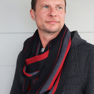 Handwoven Scarf - Dapper - Red, Charcoal + Black