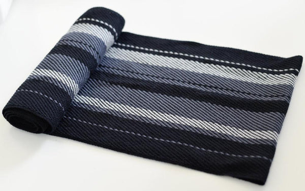 Handwoven Scarf - Dapper - Grey + Black - Threefold Designs
