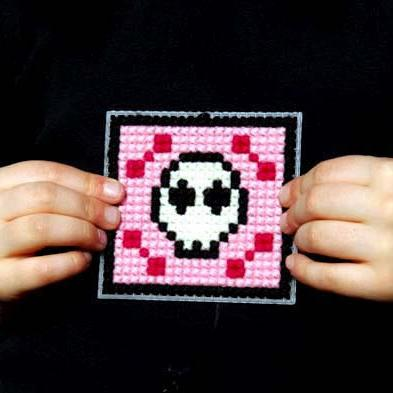 Kids' Cross Stitch Kit - Pink Skull - Threefold Designs