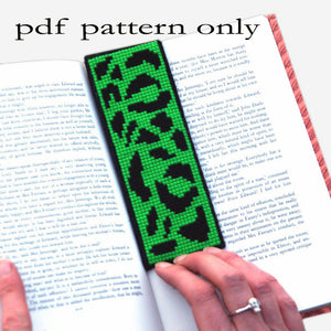 Cross Stitch PDF Pattern - Lime Green Leopard Print Bookmark