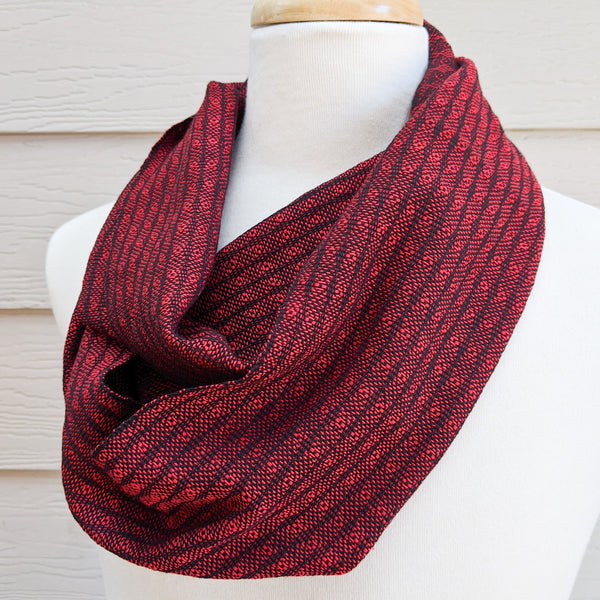 Handwoven Scarf - Luxe - Red Peacock - Threefold Designs