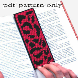 Cross Stitch PDF Pattern - Pink Leopard Print Bookmark