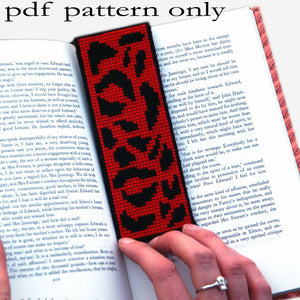 Cross Stitch PDF Pattern - Red Leopard Print Bookmark