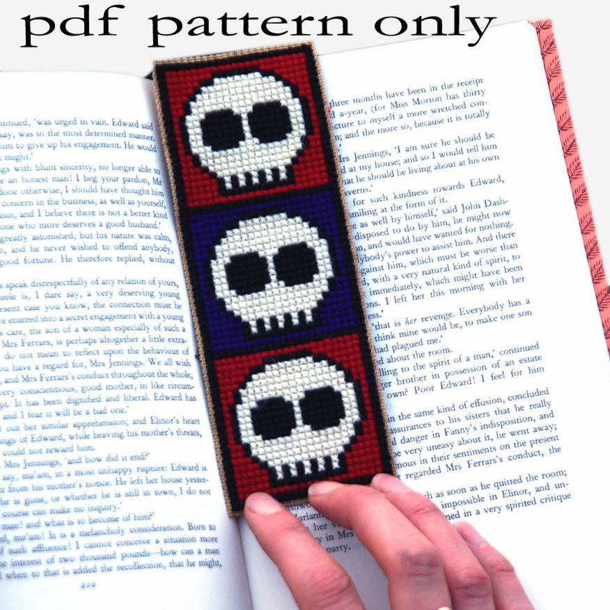 Cross Stitch PDF Pattern - Skulls Bookmark