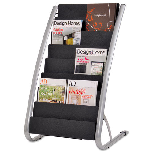 Literature Floor Rack, 16 Pocket, 23w X 19.67d X 36.67h, Silver Gray-black