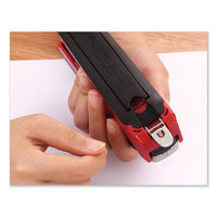 Inpower Spring-powered Premium Desktop Stapler, 28-sheet Capacity, Red-silver